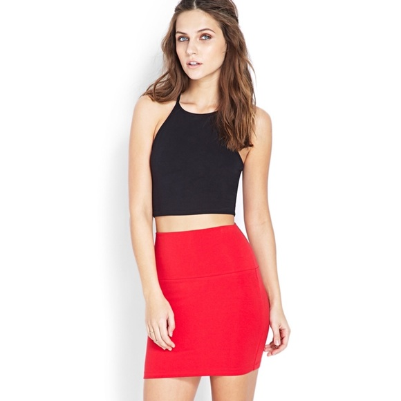 191b2a5515 Forever 21 Skirts | Red Orange Body Con Mini Skirt | Poshmark